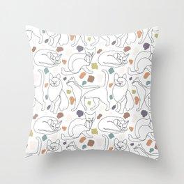 Cats Lines & Terrazzo Throw Pillow