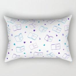 Classic Book Doodles Purple & Blue Rectangular Pillow