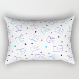 Classic Book Doodles Purple & Blue Rectangular Pillow