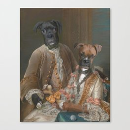 Couple - two boxer dogs, ginger and black. Canvas Print