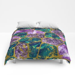 Amethyst and Green Marble Gold Comforters