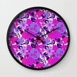Retro New Zealand Floral Pattern Wall Clock