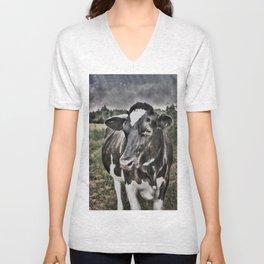 Melancholic Black White Dutch Cow Unisex V-Neck