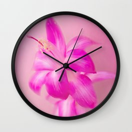 Pink Christmas Cactus Wall Clock