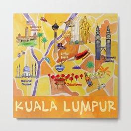 Kuala Lumpur Illustrated Map Metal Print