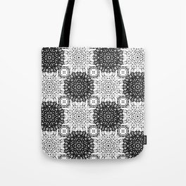 Black and White Gothic Lacy Mandala and Checker Tile Tote Bag