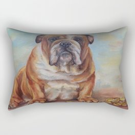 Dogmoney Funny portrait of English Bulldog with cash money Oil painting on canvas Rectangular Pillow
