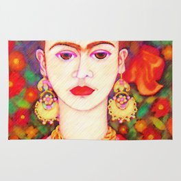 My other Frida Kahlo with butterflies Rug