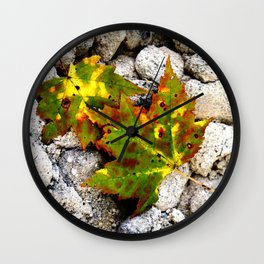 Leaves in Gray Wall Clock