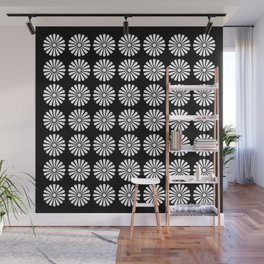 Black And White Flowery Daisy Pattern Wall Mural