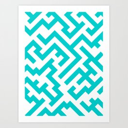 White and Cyan Diagonal Labyrinth Art Print