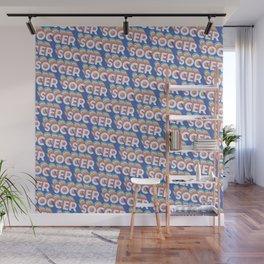 Soccer Trendy Rainbow Text Pattern (Blue) Wall Mural
