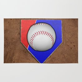 Baseball Base in Red and Blue with Sand Rug