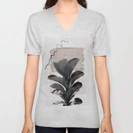 Fiddle Leaf Abstract - Naturelle #2 #minimal #wall #decor #art #society6 Unisex V-Neck