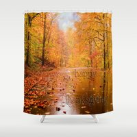 thanksgiving Shower Curtains featuring Happy Thanksgiving Greetings by Mary Timman