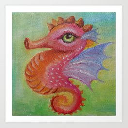 Baby Dragon Sea Horse Ice Cream color book illustration for kids Oil painting on canvas Pastel color Art Print
