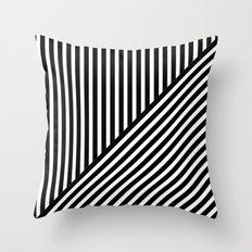Black & White Stripes & Diagonals Throw Pillow