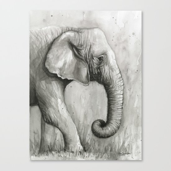 Elephant Black and White Watercolor Animals Canvas Print