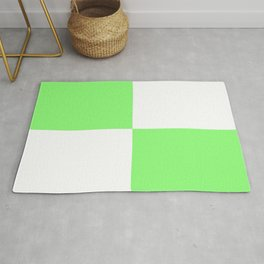 Four Squares (Lime & White Pattern) Rug