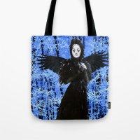 edgar allan poe Tote Bags featuring Nevermore - Edgar Allan Poe by Danielle Tanimura