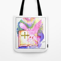 bible Tote Bags featuring THE HOLY BIBLE by KEVIN CURTIS BARR'S ART OF FAMOUS FACES