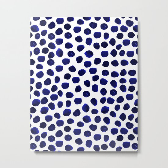 Indigo Spots dots minimal modern abstract painting boho dorm college decor monochromatic nautical Metal Print