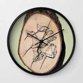 Devil Ray Wood Slice Wall Clock