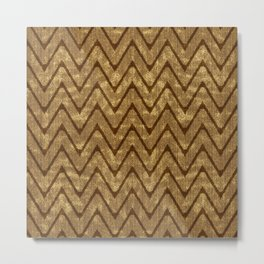 Faux Suede Chocolate Brown Chevron Pattern Metal Print