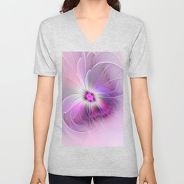 Abstract Flower With Pink And Purple Fractal Unisex V-Neck