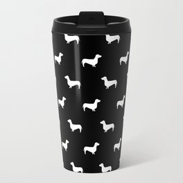Dachshund pattern minimal black and white dog lover home decor gifts accessories silhouette Travel Mug