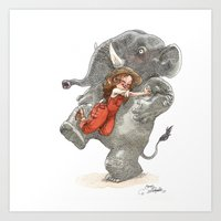 bouletcorp Art Prints featuring Elephant Hug by Bouletcorp