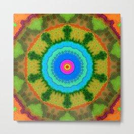 Mirror Lab Mandala 13 - Green Metal Print