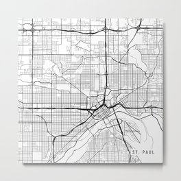 St Paul Map, USA - Black and White Metal Print