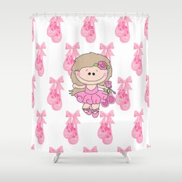 Little Ballerina in Pink Shower Curtain