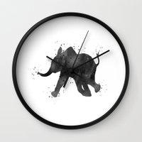 baby elephant Wall Clocks featuring Baby Elephant by Carma Zoe