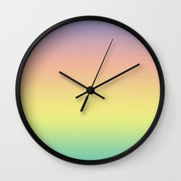 Pastel Colorful Pattern Abstract Rainbow Multi Colored Texture Wall Clock