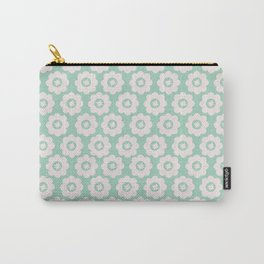 Duck Egg Blue Retro Floral Carry-All Pouch