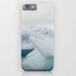 blue icebergs in a glacier lagoon iPhone Case