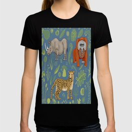 endangered animals, black rhino, amur leopard, bornean orangutan T-shirt