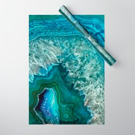 Aqua turquoise agate mineral gem stone Wrapping Paper