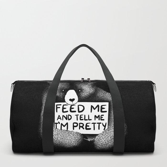 Feed Me And Tell Me I'm Pretty Bear (black) Duffle Bag