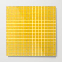 Golden poppy - orange color - White Lines Grid Pattern Metal Print