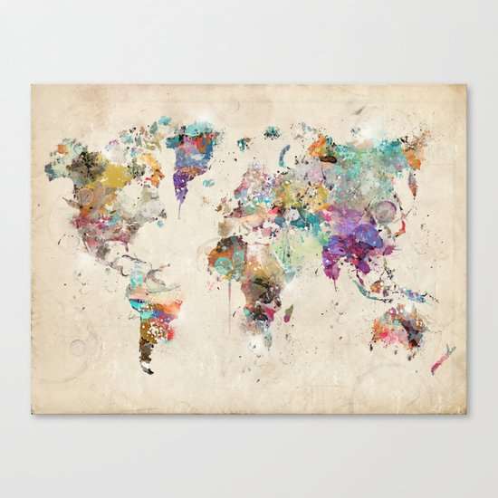 world map rustic Canvas Print