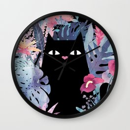 Popoki (Pastel Black Velvet) Wall Clock