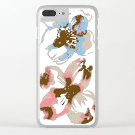 Silk Screen Floral Clear iPhone Case