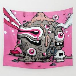 Urban Street Art: Pink Oozing Eye Creature (Buff Monster) Wall Tapestry