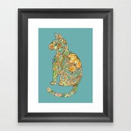 Calico Cat Blue Framed Art Print