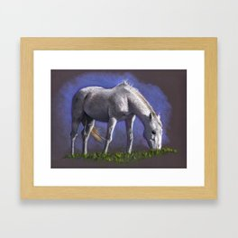 White Horse Grazing; Color Pencil Drawing Framed Art Print