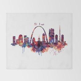 St Louis Watercolor Skyline Throw Blanket