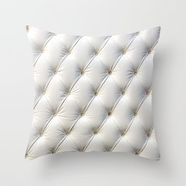 Buttoned white leather texture Throw Pillow